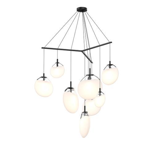 Sonneman - A Way of Light - Cantina LED Pendant [Size=9-Light Tri-Spreader, Color/Finish=Satin Black w/Poured White Glass]