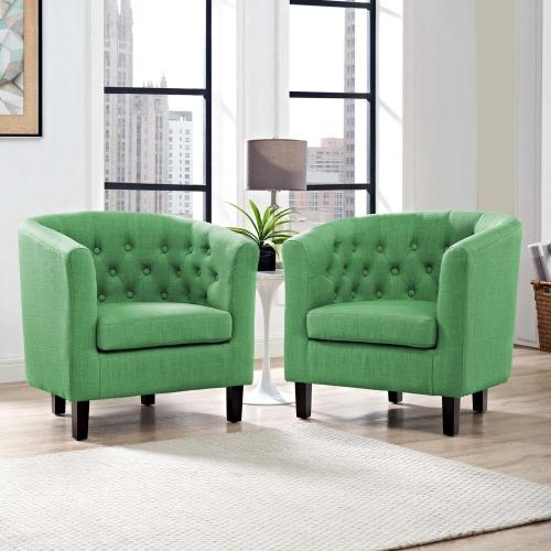 Prospect 2 Piece Upholstered Fabric Armchair Set in Green