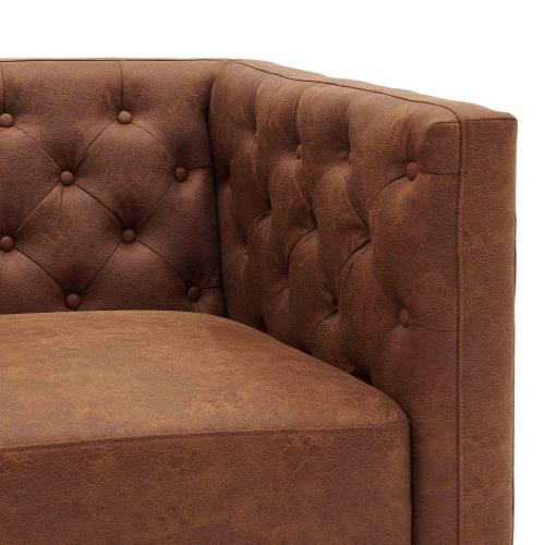 Johnson KD Fabric Tufted Accent Arm Chair, Devore Cocoa