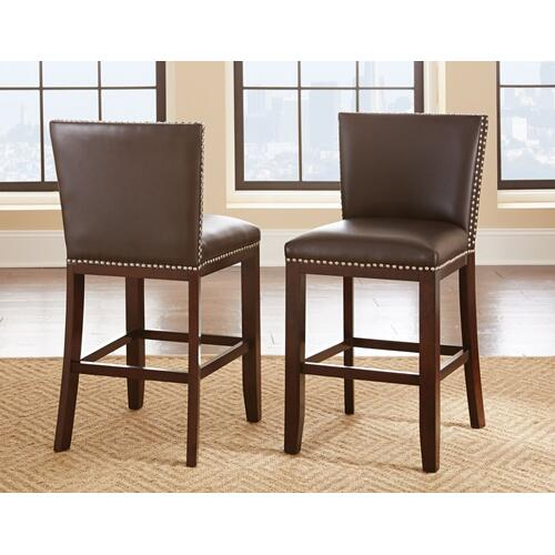 Tiffany Bonded Counter Chairw/Nailhead, Brown