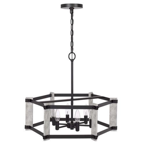60W x 6 Rutland hammered metal chandelier