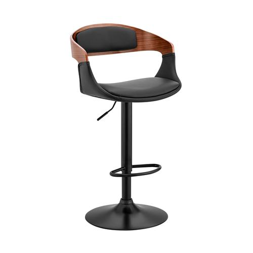 Armen Living - Benson Adjustable Black Faux Leather and Walnut Wood Bar Stool with Chrome Base