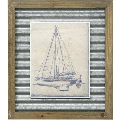 Style Craft - YACTH BLUEPRINT I  16in X 14in  Made in the USA  Textured Framed Print