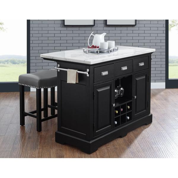 Aspen 2-Piece White Marble Kitchen Island