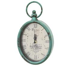 """6.75"""" X 2"""" X 11.5"""" Antique Teal Oval Clock"""