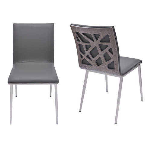 Armen Living Crystal Dining Chair in Gray Pu with Brushed Stainless Steel Finish and Gray Walnut Veneer Back (Set of 2)