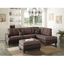 Gerhard 3pc Sectional Sofa Set, Chocolate