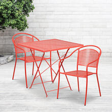 "Commercial Grade 28"" Square Coral Indoor-Outdoor Steel Folding Patio Table Set with 2 Round Back Chairs"