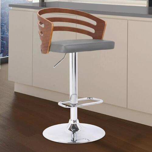 Armen Living Adele Mid-Century Adjustable Swivel Barstool in Chrome with Grey Faux Leather and Walnut Veneer