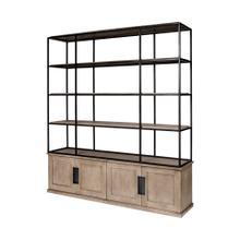 Braxton I 81.5L x 18.5W x 90H Light Brown Wood and Iron Three Shelf Shelving Unit