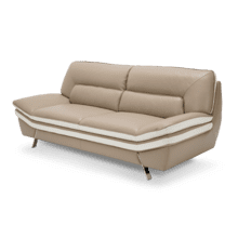 Carlin Leather Match Sofa in Mocha w/Stainless Steel Legs