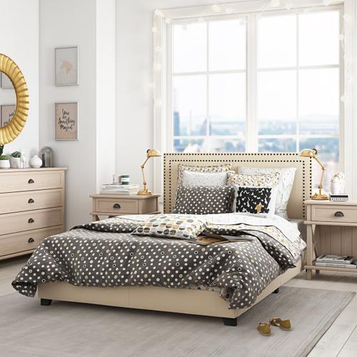 Cream Upholstered Full Bed with Double Nail Head Trim