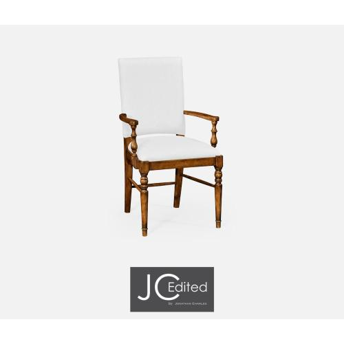 Country walnut upholstered armchair (COM)