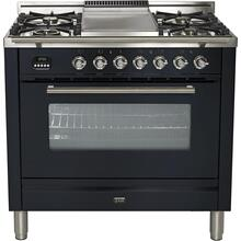 Professional Plus 36 Inch Dual Fuel Natural Gas Freestanding Range in Matte Graphite with Chrome Trim