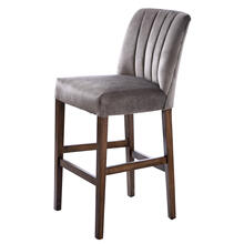 CAPP BAR STOOL  Dove Gray Velvet on Hardwood Frame