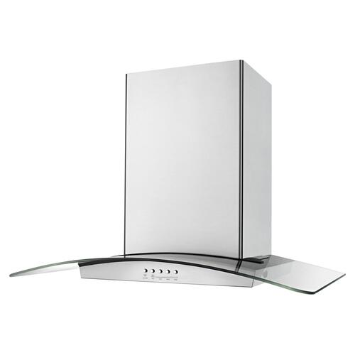 30 inch Convertible Glass Kitchen Ventilation Hood with Glass Edge LED Lighting - Stainless Steel