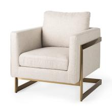 See Details - Rupert Cream Poly-Linen Seat w/ Gold Stainless Steel Frame Accent Chair