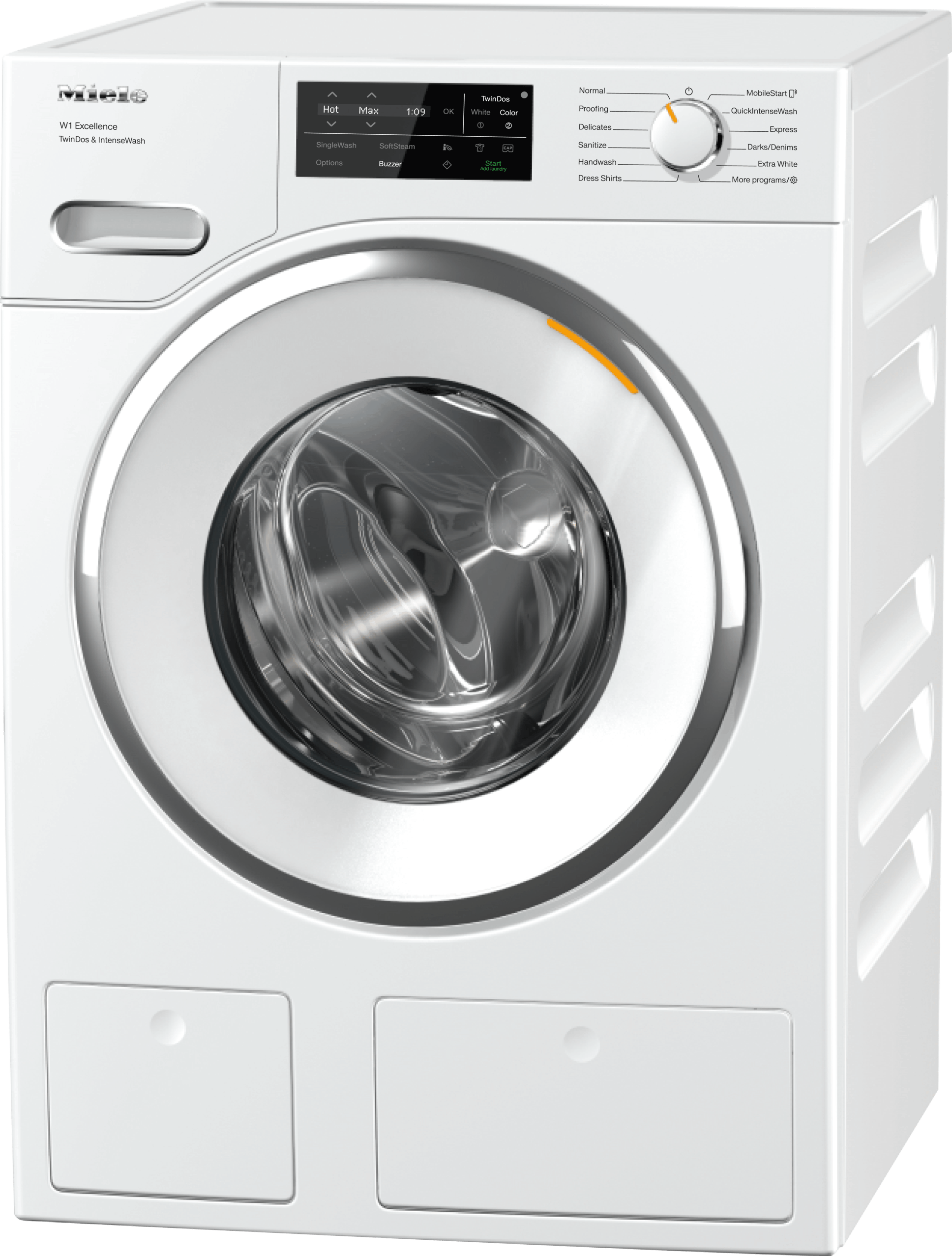 WXI 860 WCS TDos & IntenseWash - W1 Front-loading washing machine with TwinDos, IntenseWash, and Miele@home for ultimate cleanliness and comfort.