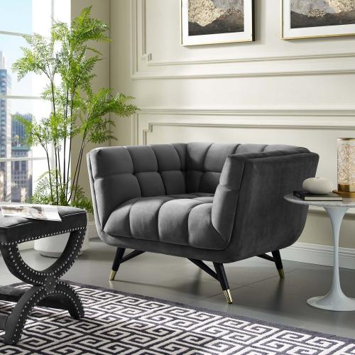 Adept Performance Velvet Armchair in Gray