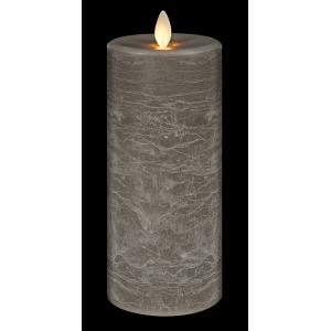 Gray LED Textured Wax Pillar Candle