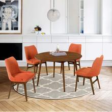 """See Details - Arcadia and Azalea 48"""" Round Orange and Walnut Wood 5 Piece Dining Set"""