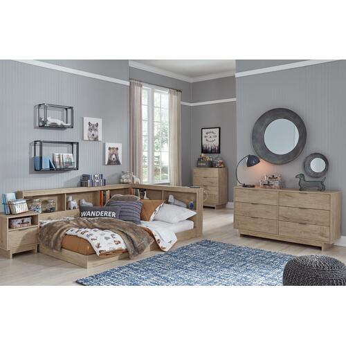 Full Bookcase Storage Bed With Dresser, Chest and Nightstand