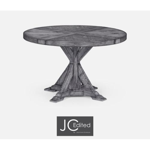 Antique dark grey circular dining table