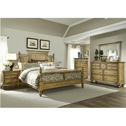 Liberty Furniture Industries - King Poster Bed, Dresser & Mirror, NS