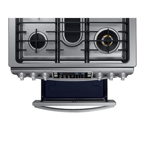 Samsung - 5.8 cu. ft. Slide-in Dual Fuel Range with Flex Duo™ & Dual Door in Stainless Steel