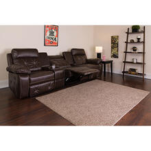 Reel Comfort Series 3-Seat Reclining Brown LeatherSoft Theater Seating Unit with Straight Cup Holders