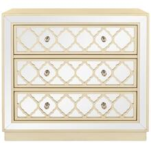 Amelia 3 Drawer Chest - Antique Beige / Nickel / Mirror