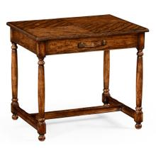 Walnut parquet rectangular side table with contrast inlay