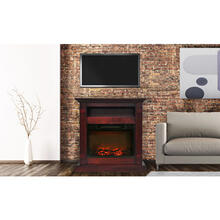 Cambridge Sienna 34 In. Electric Fireplace w/ 1500W Log Insert and Cherry Mantel, CAM3437-1CHR