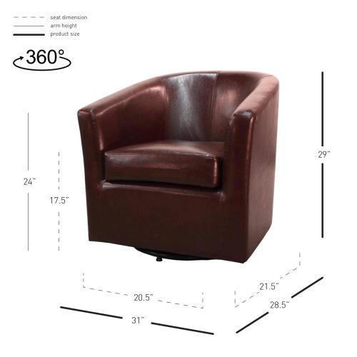Hayden SWIVEL Bonded Leather Accent Arm Chair, Saddle Brown