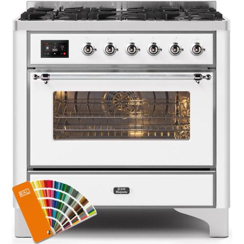 Majestic II 36 Inch Dual Fuel Liquid Propane Freestanding Range in Custom RAL Color with Chrome Trim