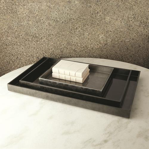 Gunmetal Silver Leaf Rectangle Tray-Lg
