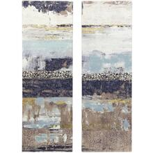 ABSTRACT ART  HAND EMBELLISHED  GOLD FOIL  36in X 12in  Set Of Two Ocean Inspired Abstract Canva