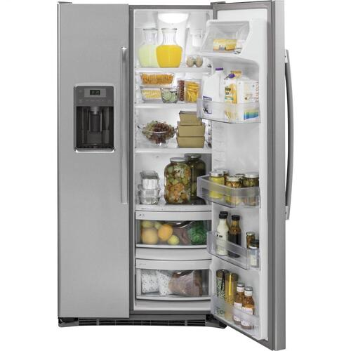GE® 21.9 Cu. Ft. Counter-Depth Side-By-Side Refrigerator-Small dents on doors means BIG savings!