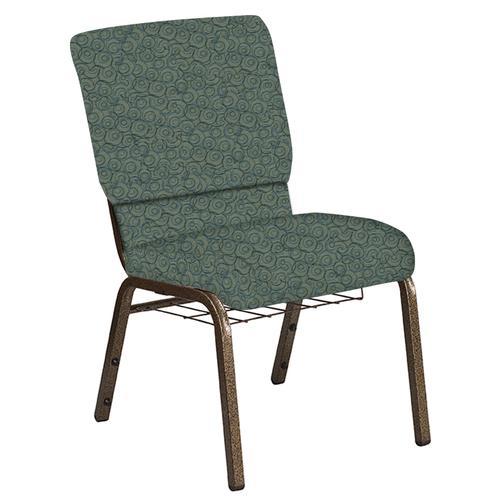 Flash Furniture - 18.5''W Church Chair in Martini Smokey Fabric with Book Rack - Gold Vein Frame