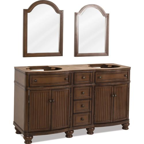 "60-1/2"" double vanity base with Walnut painted finish, simple bead board doors, and curved shape."