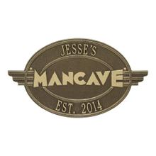 See Details - Moderno Man cave Personalized Plaque - Antique Brass