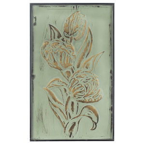 Gold & Green Patina Embossed Floral Wall Decor (2 pc. ppk.)