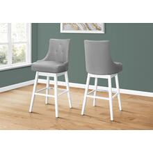 """See Details - BARSTOOL - 2PCS / 46""""H / GREY LEATHER-LOOK / SWIVEL"""