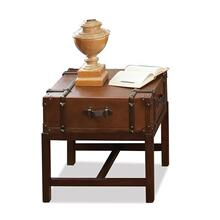 Latitudes Suitcase Side Table Aged Cognac finish