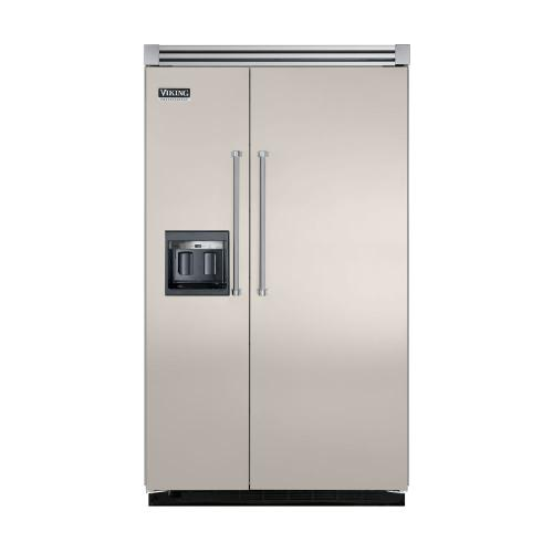 """Viking - Oyster Gray 48"""" Side-by-Side Refrigerator/Freezer with Dispenser - VISB (Integrated Installation)"""