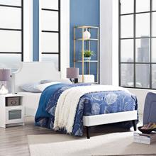 View Product - Corene Twin Vinyl Platform Bed with Squared Tapered Legs in White