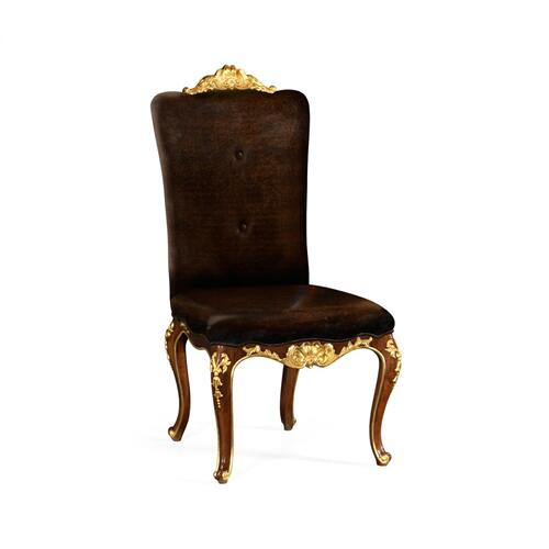 Dining Side Chair with Gilt Carved Detailing, Upholstered in Caviar Black Leather