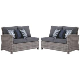 Salem Beach RAF/LAF Loveseats w/Cushion Gray