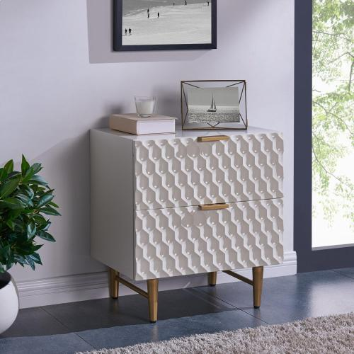 Reggie KD Geometric Side Table 2 Drawers Gold Legs, Glossy White