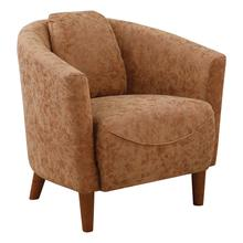 See Details - Aron Tub Chair In Brown Faux Leather and Coffee Finish Legs.